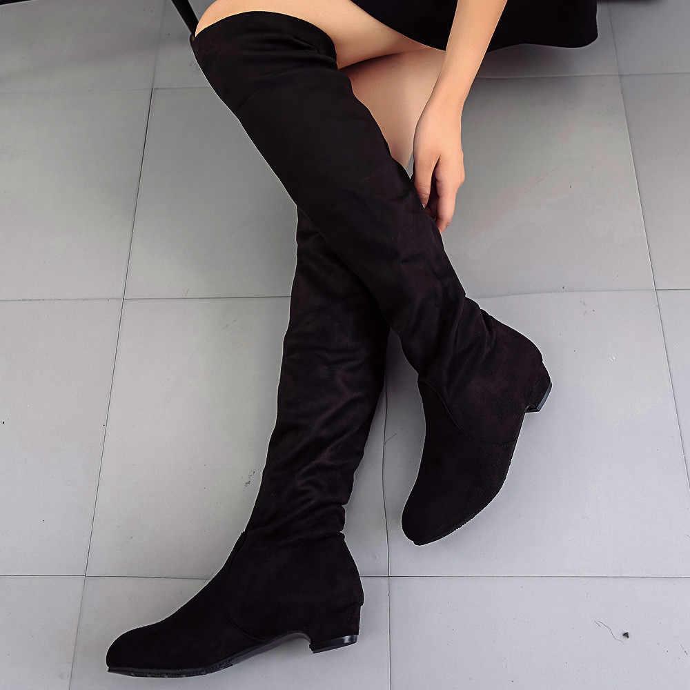 Mode Schoenen Vrouw 2018 Nieuwe Vrouwen Winter Herfst Platte Laarzen Schoenen Hoge Been Suede Korte Lange Laarzen Dames Laarzen zapatos de mujer