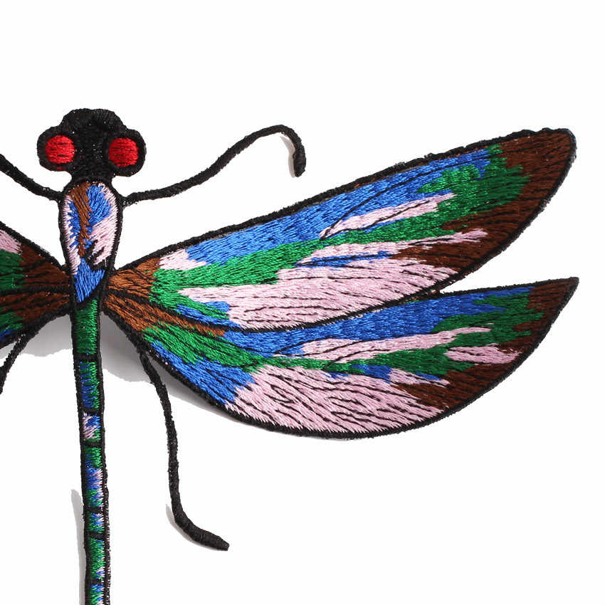 1 sztuk nowy duży rozmiar Dragonfly łatka haftowana prasowanie na naklejka na ubrania duże aplikacje na kurtki płaszcze łaty do naprasowania toreb