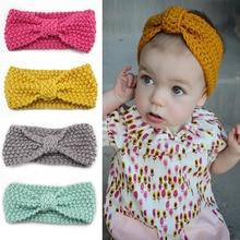 Newborn Headbands Baby hair Accessories Girl Winter Crochet Head Wrap Warmer Knitted Bow Hairband Hair Band Hair Bow