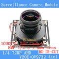 4EM1 1MP 720 P 360 Graus Wide Angle Fisheye Câmera Panorâmica Câmera de CCTV AHD Câmera de Vigilância de Infravermelho de Segurança ODS/Cabo BNC