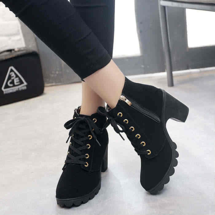 Winter women boots 2019 Lace-up vintage High heel boots women martin boots woman ankle boats platform single ladies shoes woman