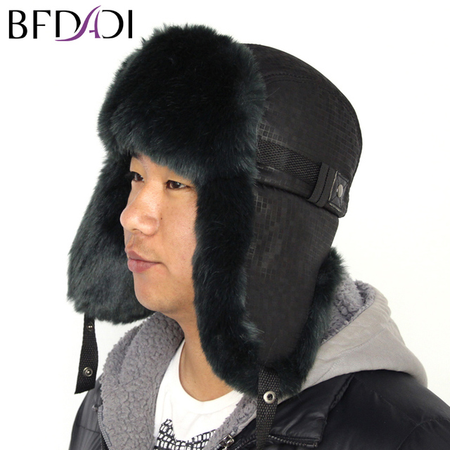 fd7ca651a6 BFDADI Winter Warm Proof Trapper Hat 2018 New Men s Bomber Hats Fashion  Sport Outdoor Ear Flaps
