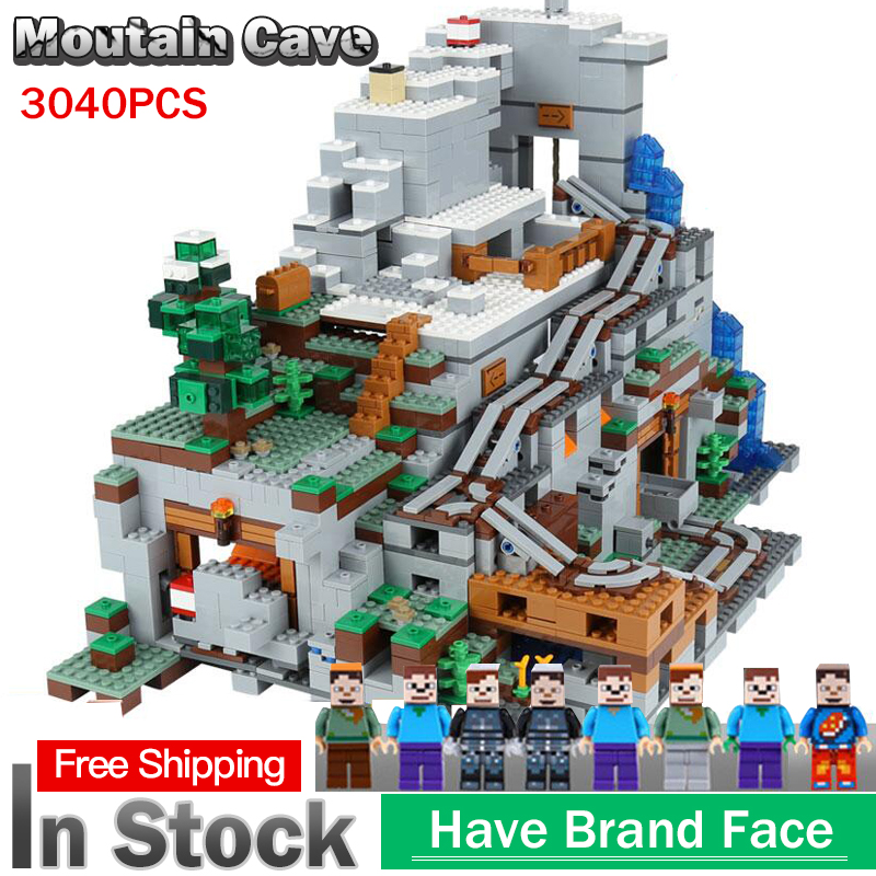 In Stock 18032 Model Building Kit Blocks Bricks compatible with Miniecraft 21137 2932pcs Mountain Cave Set Kid Toys