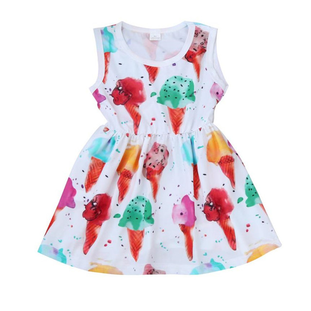 8992efa0c5e7 ARLONEET Baby Girl Dress Summer Sleeveless Dress Ice Cream Casual Sundress Print  Dresses Girls 1 to