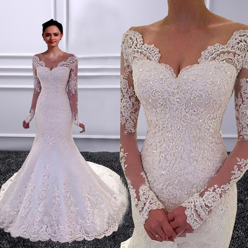 Vestido de noiva Long Sleeves Mermaid font b Wedding b font font b Dresses b font