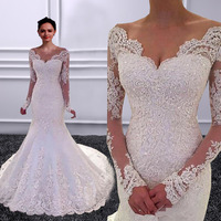 Vestido de noiva Long Sleeves Mermaid Wedding Dresses 2018 Backless Sexy Luxury V neck Wedding Bridal Gowns Robe de mariage