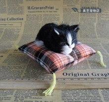 mini cute simulation black sleeping cat toy polyethylene & furs cat doll about 12cm