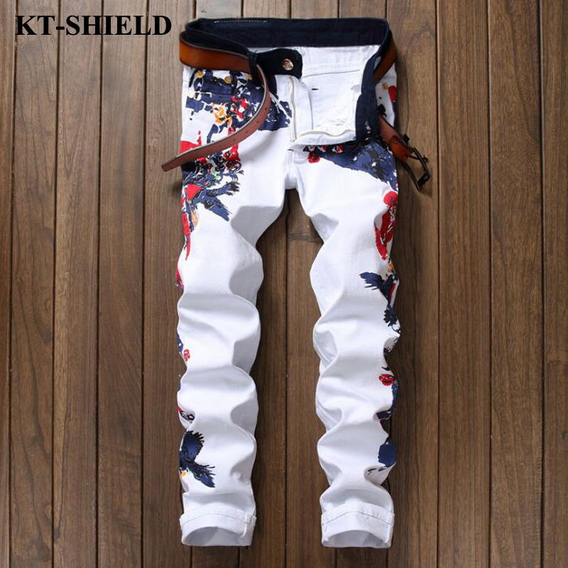 Luxury Brand Jeans Men Flowers Printed Denim Trousers Homme White Casual Denim Mens Designer Jeans Pants