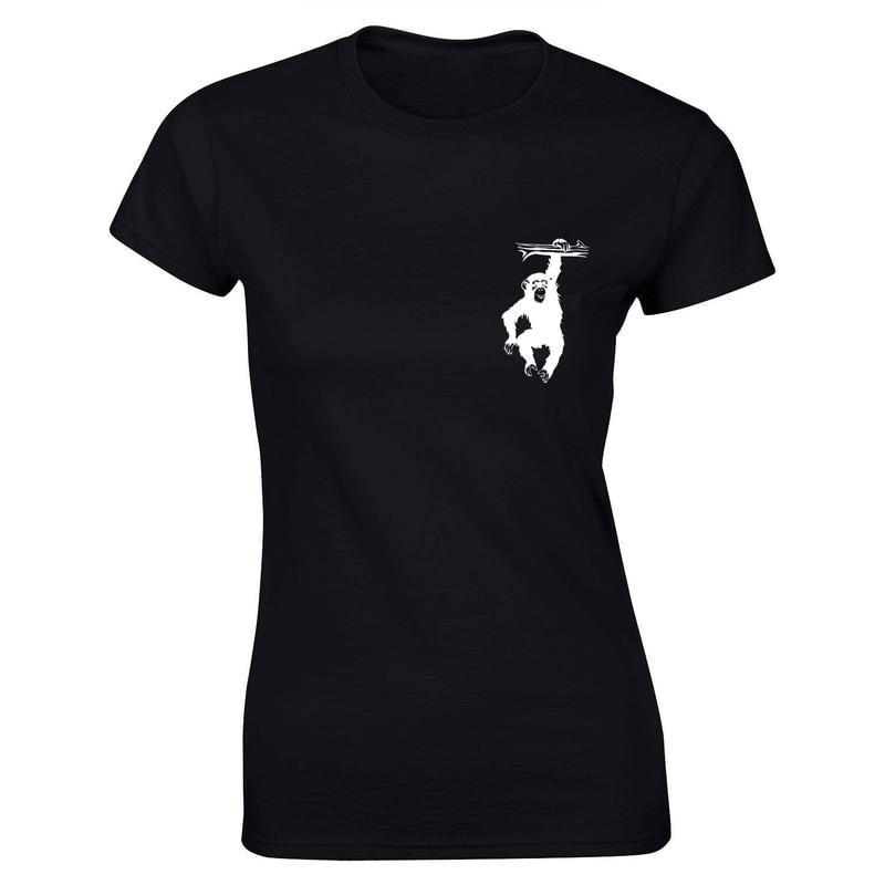 Cotton Women Tops Chimp Monkey Chimpanzee Ape Animal Cartoon Printing T Shirt Pattern Tees T Shirts