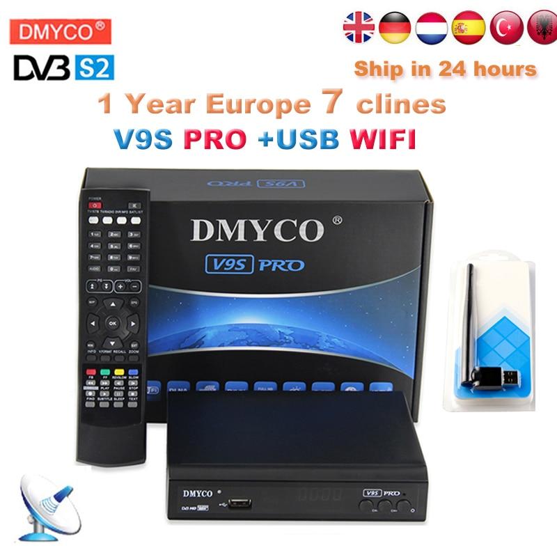 [Genuine] spagna 1 anno Europa Clines V9S PRO HD decodificador satelital dvbs2 recettore tv 1080 p USB wifi ricevitore satellitare