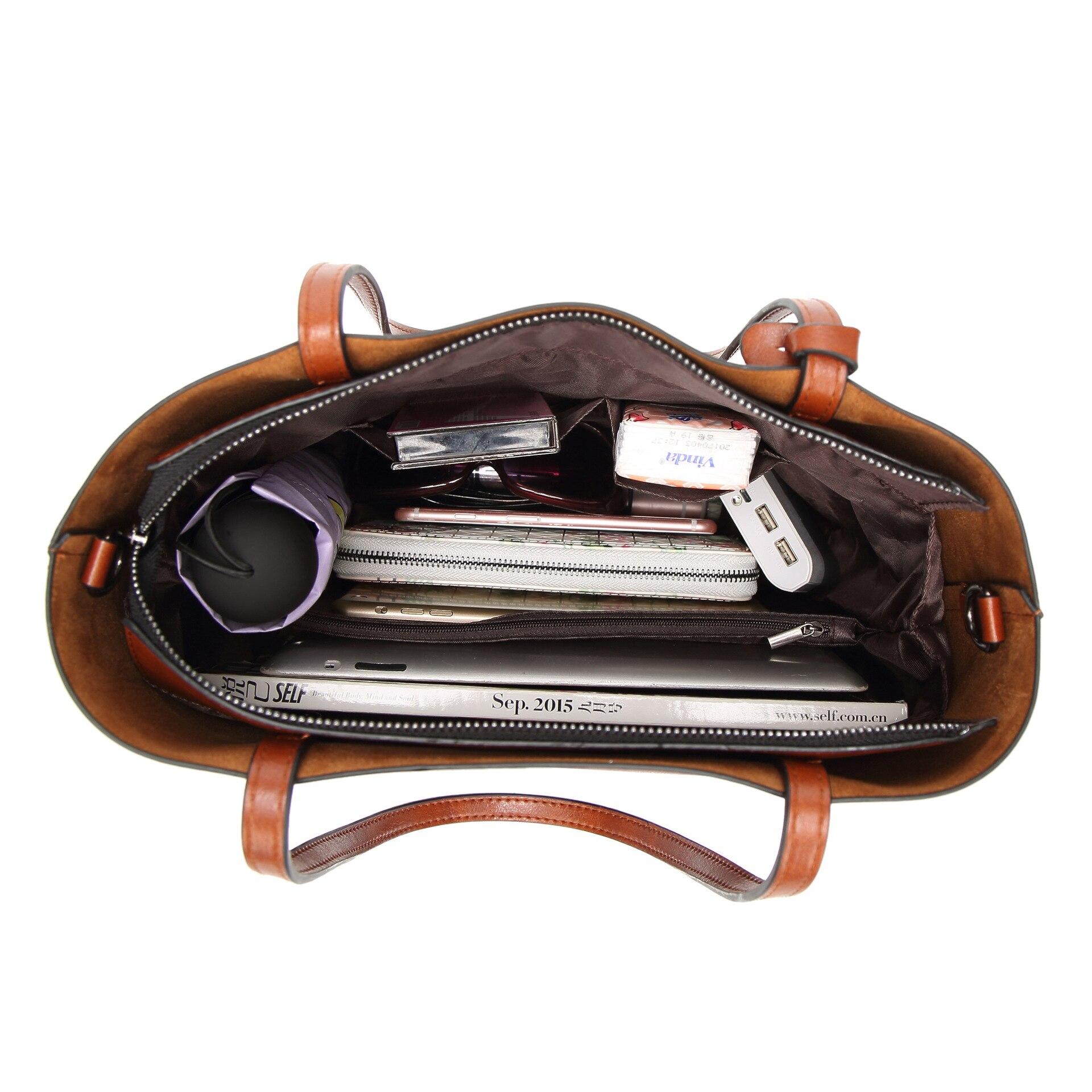 Image 5 - Высокое качество, хит продаж, женские повседневные сумки, масло, воск, кожа, женская сумка на плечо, дизайнерская женская винтажная сумка через плечо, большая C1079-in Сумки с ручками from Багаж и сумки