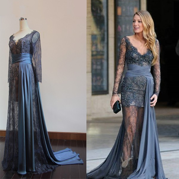 Fast Shipping Real Sample Celebrity red carpet dress Gossip Girl fashion Blake  Lively Full Lace Formal Gown fdbe55866a6f
