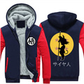 2016 New Winter Jackets and Coats Dragon Ball Z hoodie Anime Son Goku Hooded Thick Zipper Men Sweatshirts