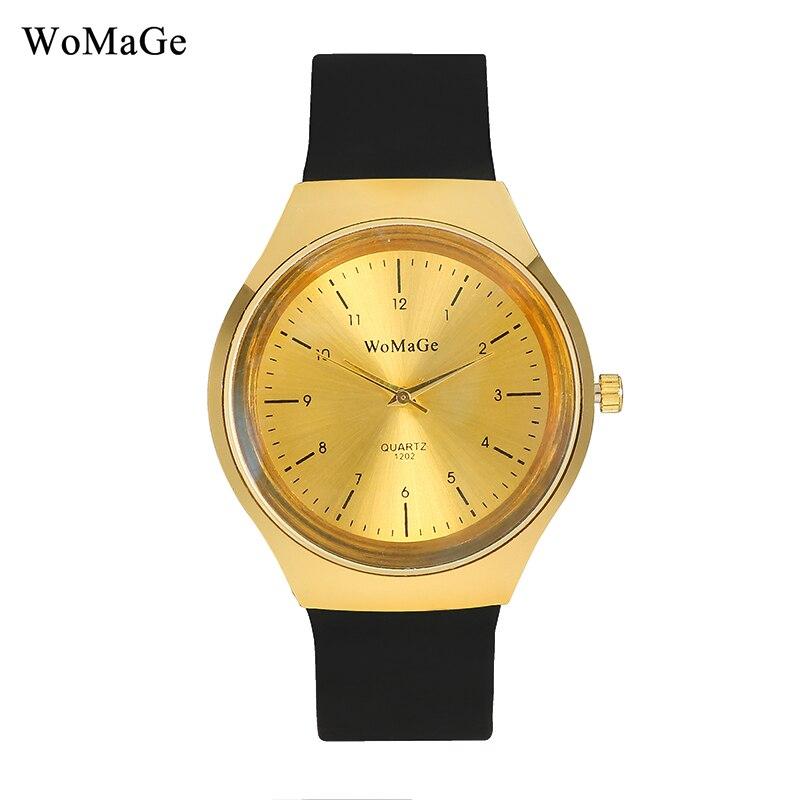 New Design Watches Womage Brand Fashion Minmalist Golden Dial Black Silicone Strap Sports Analog Quartz Men Watch reloj hombre