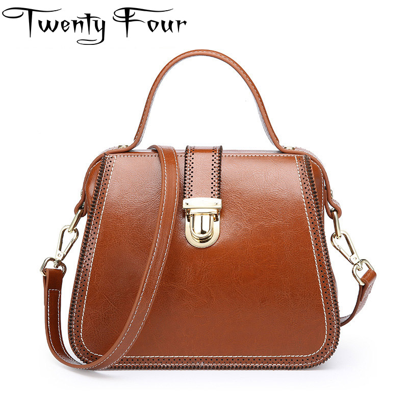 Twenty-four Women Luxury Brand Vintage Doctor Bag Genuine Leather Lady Messenger Crossbody Bags Solid Fashion Shoulder Small Bag