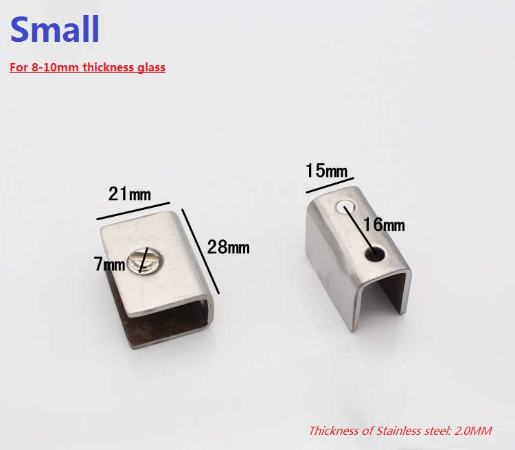 10pcslot square design small stainless steel 810mm glass shelf brackets clamps clips