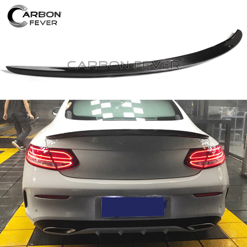 For Mercedes W205 Carbon Fiber Trunk Spoiler Rear Wing C Class Coupe C205 C250 C300 2015 + mercedes carbon fiber trunk amg style spoiler fit for benz e class w207 2 door 2010 2015 coupe convertible vehicles