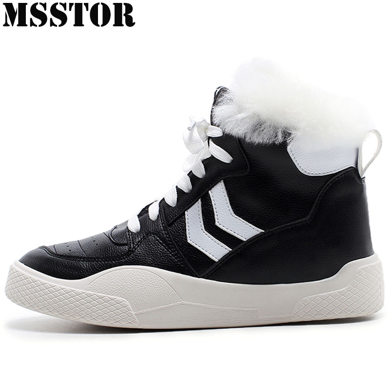MSSTOR Winter2018 Running Shoes For Women Genuine Leather Ankle Boots Women Sport Shoes Woman Brand Athletic Ladies Sneakers msfair 2018 cow leather skateboarding shoes woman brand genuine leather women sport shoes rhinestone white sneakers for ladies