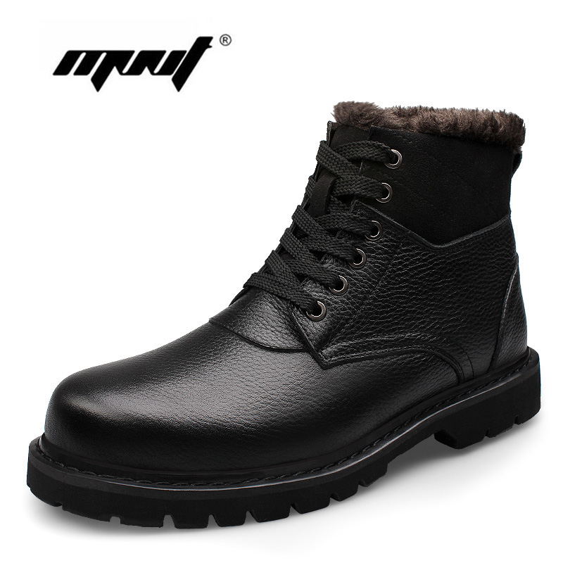 Genuine Leather Men Boots Handmade Plus Size Warm Velvet Winter Shoes Waterproof Snow Boots men boots 2015 men s winter warm snow boots genuine leather boots with plus velvet shoes high quality men outdoor work shoes