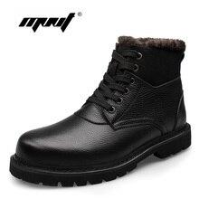 Véritable Cuir Hommes Bottes À La Main Plus La Taille Chaud Velours D'hiver Chaussures de Neige Imperméables Bottes