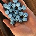 50 UNIDS/LOTE 12mm DIY Cuentas De Madera de Color Azul Cuentas De Collar De Madera Geométricas, Decoración de Navidad, Decoración Del Hogar