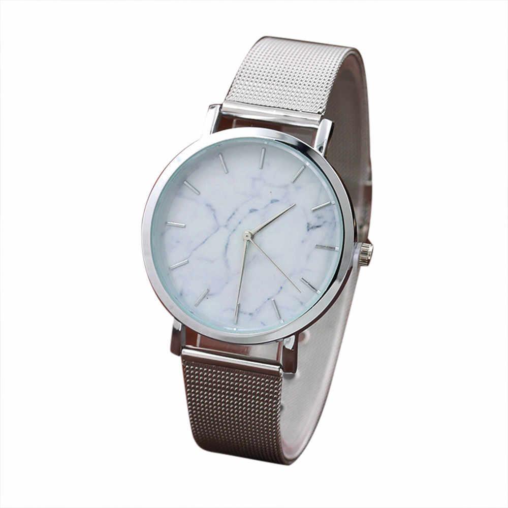אופנה נשים שעון השיש משטח זהב וכסף נירוסטה עסקי רצועת קוורץ תנועת שעון יד relogio feminino 30X