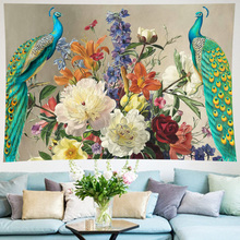 Vintage Peacock Flower Tapestry Living Room goblen Wall Hanging Peony Home Decor Yoga Mat