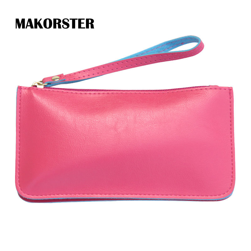 MAKORSTER long Fashion Wallet for Ladies PU Leather Wallets and purses female coin holders wristlet feminina portefeuille femme 2017 new ladies purses in europe and america long wallet female cards holders cartoon cat pu wallet coin purses girl