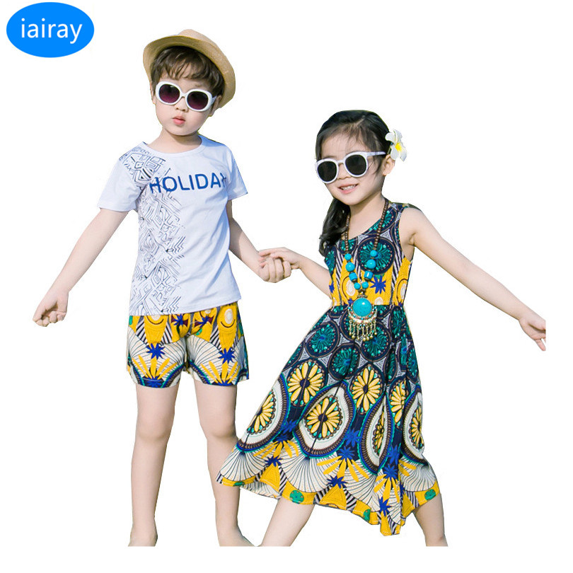iairay twins clothes mom and dauther dress vintage summer beach dress girl cotton t shirt short pants family matching outfits