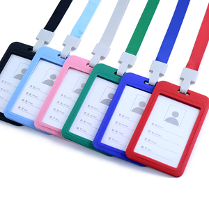 1PCS Work Card Holders With Rope student plastic Card Holder Employee Name ID Card Cover Metal Work Certificate Identity Badge