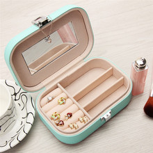 Women Gift Jewelry Box Travel Makeup Organizer PU Leather Case With Mirror Cosmetic Case Organizer