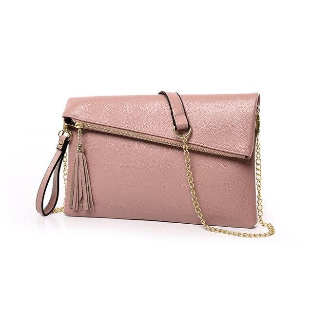 New Women Leather Tassel Envelope bag Women's Band Famous designs Clutch bag Fashion Ladies Chain Simple Leisure  Messenger bag