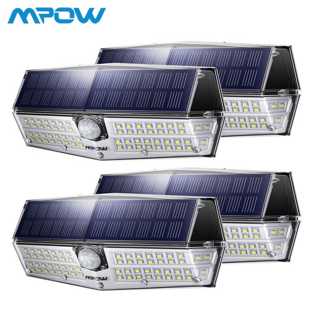 4 Pcs MPOW 66 LED Motion Sensor Solar 3 Lighting Modes Powerful IP66 Wall Lights