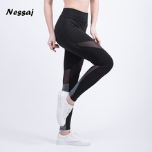 Nessaj Sexy Pants Women Leggings Fitness Women Pants Designer Korean Fashion Color Block Mesh Insert Leggings 2017