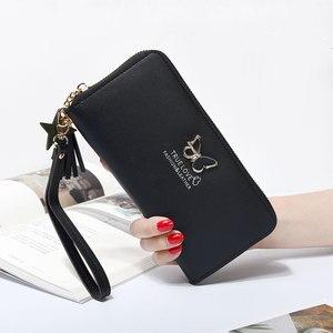 Papillon décoration portefeuille haute capacité fermeture éclair femmes portefeuilles femme sac à main pocketbook téléphone argent sac à main porte-cartes 2020(China)