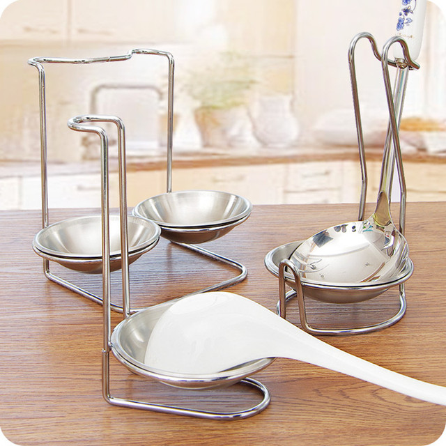 Unique Design Vertical Pan Rack Cover Rest Stand Drainer Shelf , Stainless  Steel Spoon Holder For