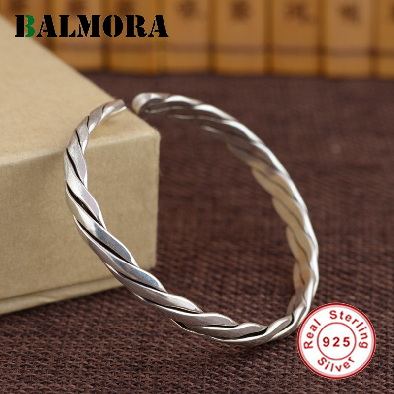 BALMORA Genuine 925 Sterling Silver Jewelry Simple Fashion Round Bangles for Women Men Lovers Anniversary Gifts Bijoux SZ0421