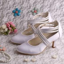 Wedopusที่กำหนดเองที่ทำด้วยมือฤดูใบไม้ผลิฤดูใบไม้ร่วงซิปรองเท้าสีขาวผู้หญิงแต่งงานปั๊ม