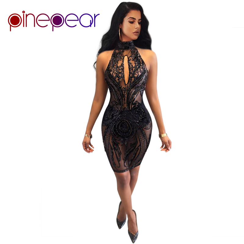 PinePear Women Black Sequin Club Mesh Dress 2019 New Sexy Halter Backless  Lady Luxury Evening Party Nightclub Mini Vestido db720acec44f