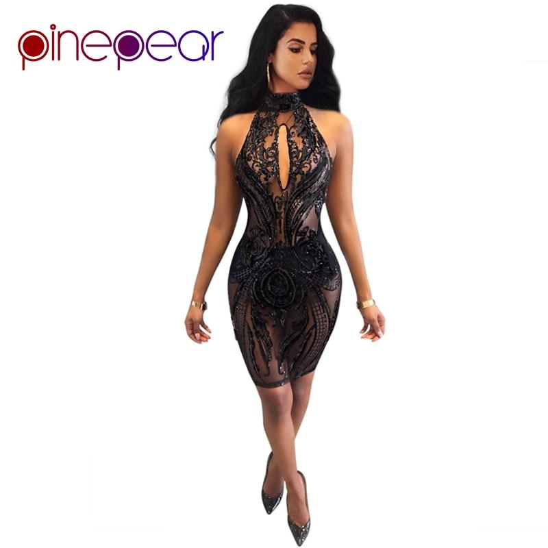 PinePear Women Black Sequin Club Mesh Dress 2019 New Sexy Halter Backless  Lady Luxury Evening Party Nightclub Mini Vestido 761d728878c0