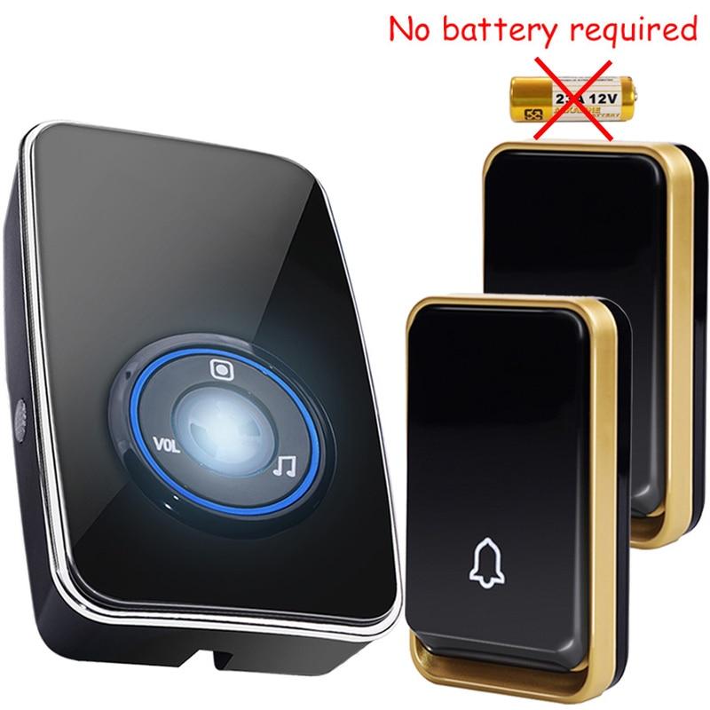New self powered Waterproof Wireless Door Bell night light sensor no battery EU plug smart DoorBell 2 button 1 Receiver 220V