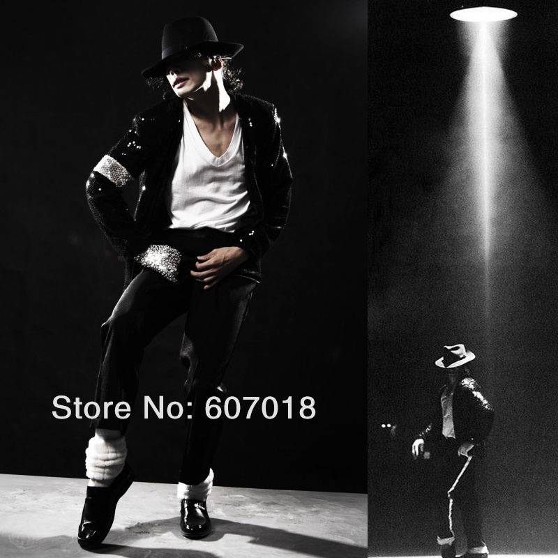 Rare Classic MJ Cosplay Michael Jackson BILLIE JEAN Chaqueta SEQUINED COOL FULL SET Disfraz para rendimiento