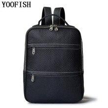 YOOFISH Neue Männer Rucksäcke Taschen Schulter Wasserdichte Schultasche Rindleder Echtes Leder reisetasche Adrette