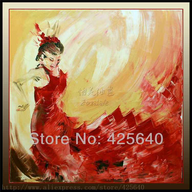 Spanish Flamenco Dancer Painting Latina Woman Oil Painting