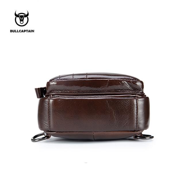 BULLCAPTAIN 2018 Genuine Leather Men Messenger Bag Casual Crossbody Bag Fashion Men's Handbag men chest bag Male Shoulder Bag