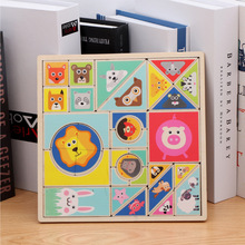 Newest Baby Creative DIY wooden Puzzle 3D Animal Shape board Learning and Educational Wooden toys Gifts for Children