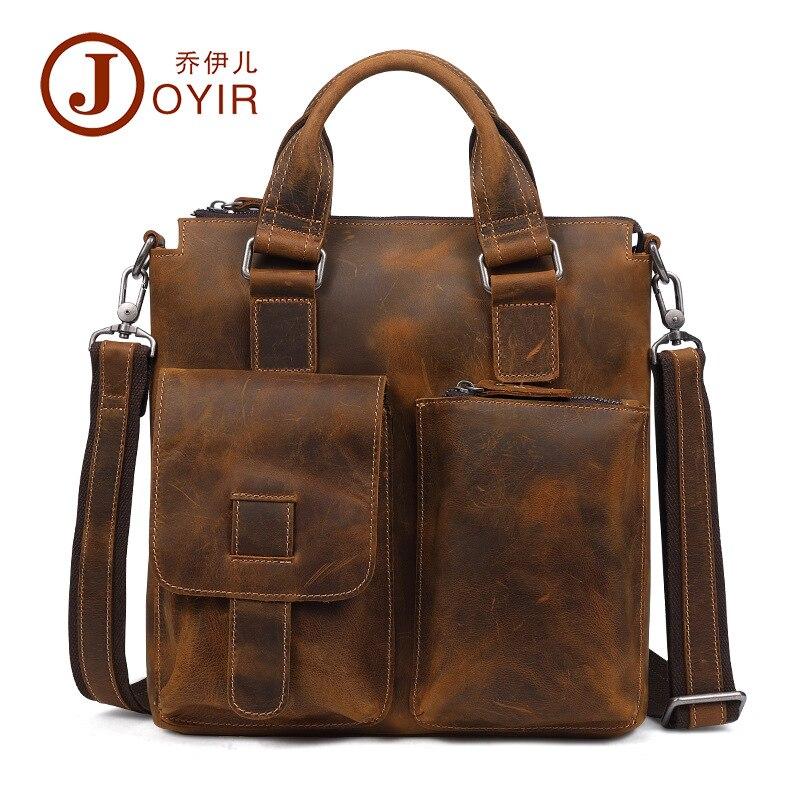 JOYIR 2017 натуральная кожа Портфели Tote плеча Курьерские сумки Для мужчин Бизнес ноутбука Сумки Crossbody сумки для Для мужчин мужской
