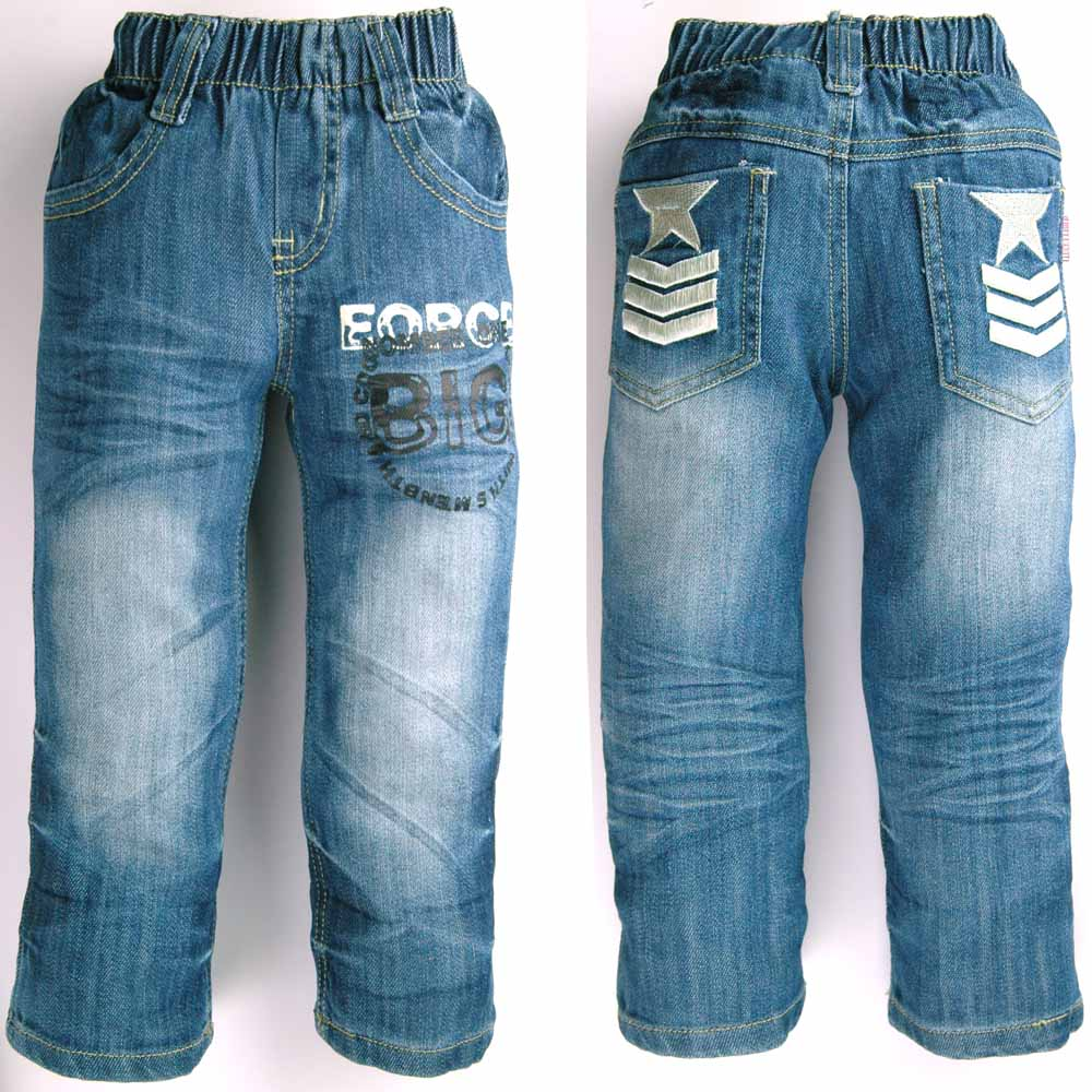 d5f189a71b99a 2-6 yıl Genç Boy denim pantolon mektup baskılı elastik bel Çocuk Bahar  Sonbahar Kot Yıldız nakış Çocuk MH9324