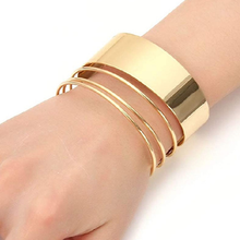 Vintage Punk Wire Cuff Bangle Fashion Jewelry Women Geometric Metal Opening Wide Gold Silver Charm Bracelets