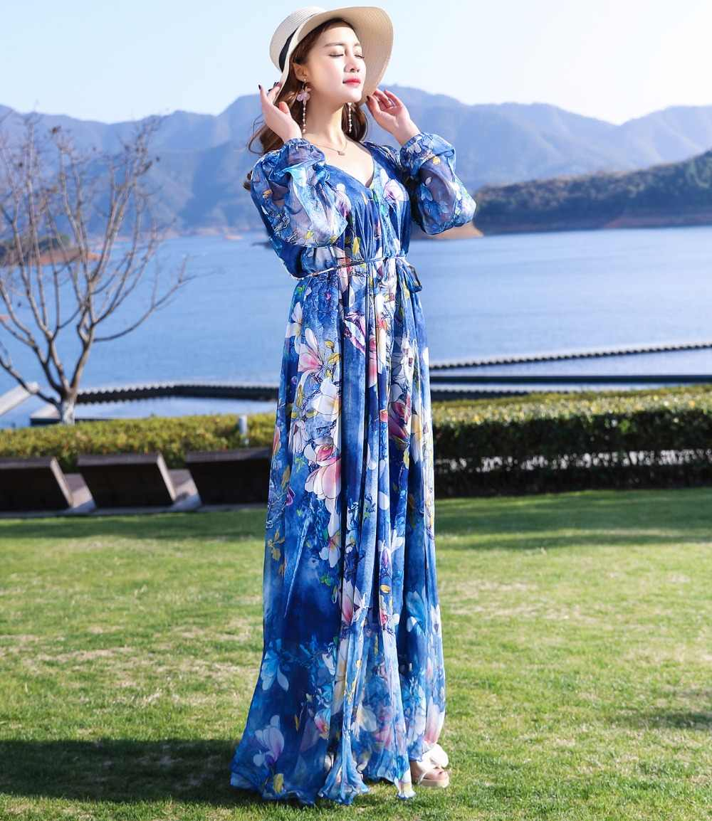 ae4b7c6519 ... 2018 New Collection Summer V-Neck Semi-Formal Maxi Party Maxi Dress  Beach Plus ...